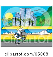 Royalty Free RF Clipart Illustration Of A Rollerblading Cockatoo Along A Coastal City by Dennis Holmes Designs