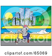 Royalty Free RF Clipart Illustration Of A Koala Riding A Scooter Along A Coastal City by Dennis Holmes Designs