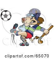 Royalty Free RF Clipart Illustration Of A Lion Carrying A Hockey Stick And Kicking A Soccer Ball