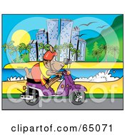 Royalty Free RF Clipart Illustration Of A Kangaroo Riding A Scooter Along A Coastal City by Dennis Holmes Designs