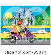 Royalty Free RF Clipart Illustration Of A Kangaroo Riding A Scooter Along A Coastal City