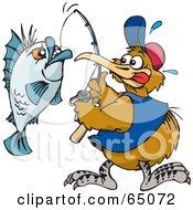 Royalty Free RF Clipart Illustration Of A Kiwi Bird Reeling In A Blue Fish by Dennis Holmes Designs