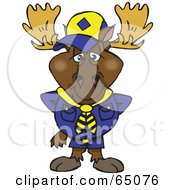 Royalty Free RF Clipart Illustration Of A Scout Moose In Uniform by Dennis Holmes Designs