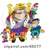 Royalty Free RF Clipart Illustration Of A Bulldog King With A Mouse Cat And Parrot by Dennis Holmes Designs