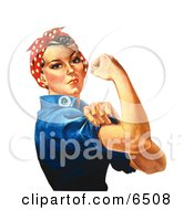 Royalty Free Clipart Illustration Of Rosie The Riveter Isolated On White Facing Right by JVPD