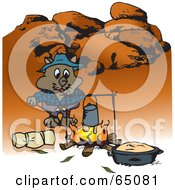 Royalty Free RF Clipart Illustration Of A Wombat Camping And Cooking Over A Fire In The Outback by Dennis Holmes Designs