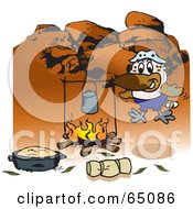Royalty Free RF Clipart Illustration Of A Kookaburra Camping And Cooking Over A Fire In The Outback by Dennis Holmes Designs