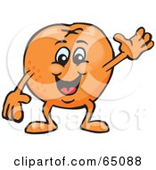 Royalty Free RF Clipart Illustration Of A Friendly Waving Naval Orange Guy