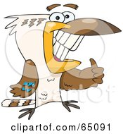 Royalty Free RF Clipart Illustration Of A Kookaburra Bird Giving The Thumbs Up by Dennis Holmes Designs