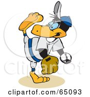Royalty Free RF Clipart Illustration Of A Baseball Penguin Pitching by Dennis Holmes Designs