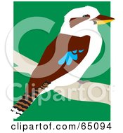 Royalty Free RF Clipart Illustration Of A Kookaburra Bird Perched On A Branch