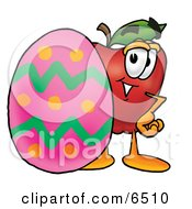 Red Apple Character Mascot Standing Beside An Easter Egg Clipart Picture