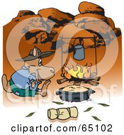 Royalty Free RF Clipart Illustration Of A Kangaroo Camping And Cooking Over A Fire In The Outback by Dennis Holmes Designs