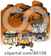 Royalty Free RF Clipart Illustration Of A Koala Camping And Cooking Over A Fire In The Outback by Dennis Holmes Designs