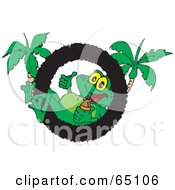 Royalty Free RF Clipart Illustration Of A Cool Frog Relaxing In A Ring Logo With Palm Trees