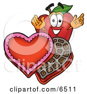 Red Apple Character Mascot With An Open Box Of Valentines Day Chocolate Candies Clipart Picture