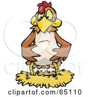 Royalty Free RF Clipart Illustration Of A Disappointed Chicken Over An Empty Nest