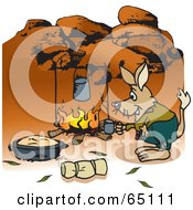 Royalty Free RF Clipart Illustration Of A Bilby Camping And Cooking Over A Fire In The Outback