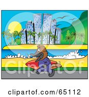 Royalty Free RF Clipart Illustration Of A Platypus Carrying A SUrf Board Along A Coastal City by Dennis Holmes Designs