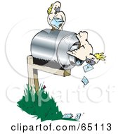 Royalty Free RF Clipart Illustration Of Cockatoos Pulling Mail Out Of A Mailbox