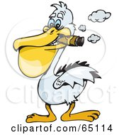 Royalty Free RF Clipart Illustration Of A White Pelican Smoking A Cigar by Dennis Holmes Designs