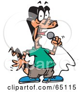 Royalty Free RF Clipart Illustration Of A Karaoke Goanna Lizard by Dennis Holmes Designs
