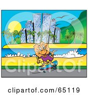 Royalty Free RF Clipart Illustration Of A Frill Lizard Skateboarding Along A Coastal City