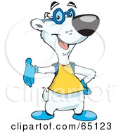 Royalty Free RF Clipart Illustration Of A Geeky Polar Bear Wearing A Shirt And Glasses by Dennis Holmes Designs