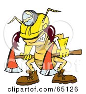 Royalty Free RF Clipart Illustration Of A Construction Termite Carrying An Axe by Dennis Holmes Designs