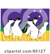Royalty Free RF Clipart Illustration Of A Group Of Happy Penguins Under The Stars by Dennis Holmes Designs