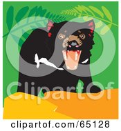 Mean Tasmanian Devil With An Open Mouth