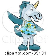 Royalty Free RF Clipart Illustration Of A Seahorse Wearing A Tropical Shirt by Dennis Holmes Designs