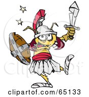 Royalty Free RF Clipart Illustration Of A Termite Warrior Holding Up A Sword by Dennis Holmes Designs