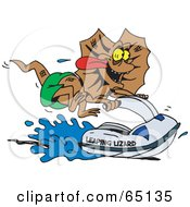 Royalty Free RF Clipart Illustration Of A Frill Lizard Riding A Jet Ski by Dennis Holmes Designs