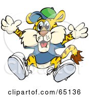Royalty Free RF Clipart Illustration Of A Happy Tiger In Clothes Jumping by Dennis Holmes Designs