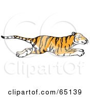 Royalty Free RF Clipart Illustration Of A Profiled Running Tiger by Dennis Holmes Designs