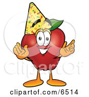 Red Apple Character Mascot Wearing A Birthday Party Hat Clipart Picture