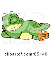 Royalty Free RF Clipart Illustration Of A Sleeping Green Pollywog Character by Dennis Holmes Designs