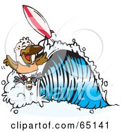 Royalty Free RF Clipart Illustration Of A Kookaburra Surfing A Wave by Dennis Holmes Designs