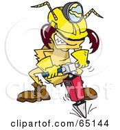 Royalty Free RF Clipart Illustration Of A Construction Termite Using A Jackhammer