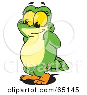Royalty Free RF Clipart Illustration Of A Bashful Green Pollywog Character by Dennis Holmes Designs