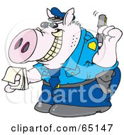 Grinning Pig Officer Writing A Ticket