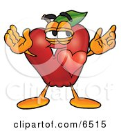 Red Apple Character Mascot With His Heart Beating Out Of His Chest And Eyebrows Raised