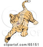 Royalty Free RF Clipart Illustration Of A Playful Tiger Running Forward by Dennis Holmes Designs