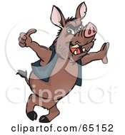 Royalty Free RF Clipart Illustration Of A Wild Hog Leaning And Giving The Thumbs Up by Dennis Holmes Designs