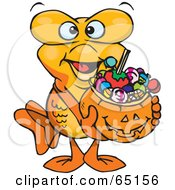 Royalty Free RF Clipart Illustration Of A Trick Or Treating Male Goldfish Holding A Pumpkin Basket Full Of Halloween Candy