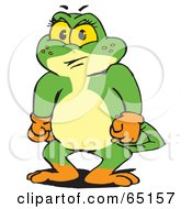 Royalty Free RF Clipart Illustration Of A Frustrated Green Pollywog Character