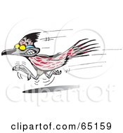 Royalty Free RF Clipart Illustration Of A Grinning Roadrunner Speeding Past by Dennis Holmes Designs