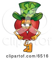 Red Apple Character Mascot Wearing A Green Paddys Day Hat With A Four Leaf Clover On It Clipart Picture