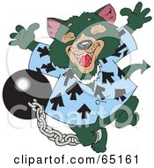 Royalty Free RF Clipart Illustration Of A Shackled Tasmanian Devil Leaping by Dennis Holmes Designs